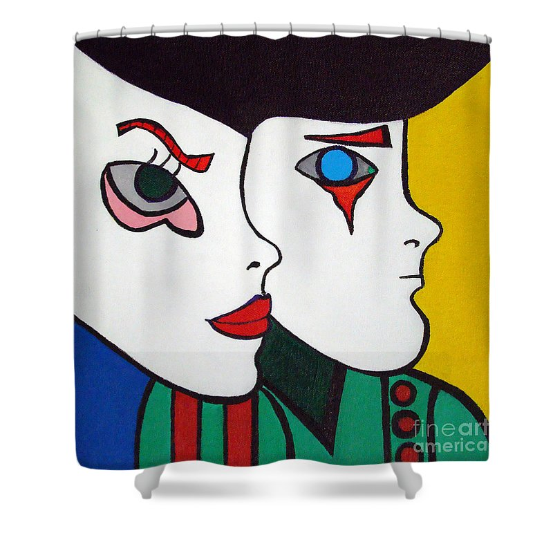Pop-art Shower Curtain featuring the painting Love Hurts by Silvana Abel