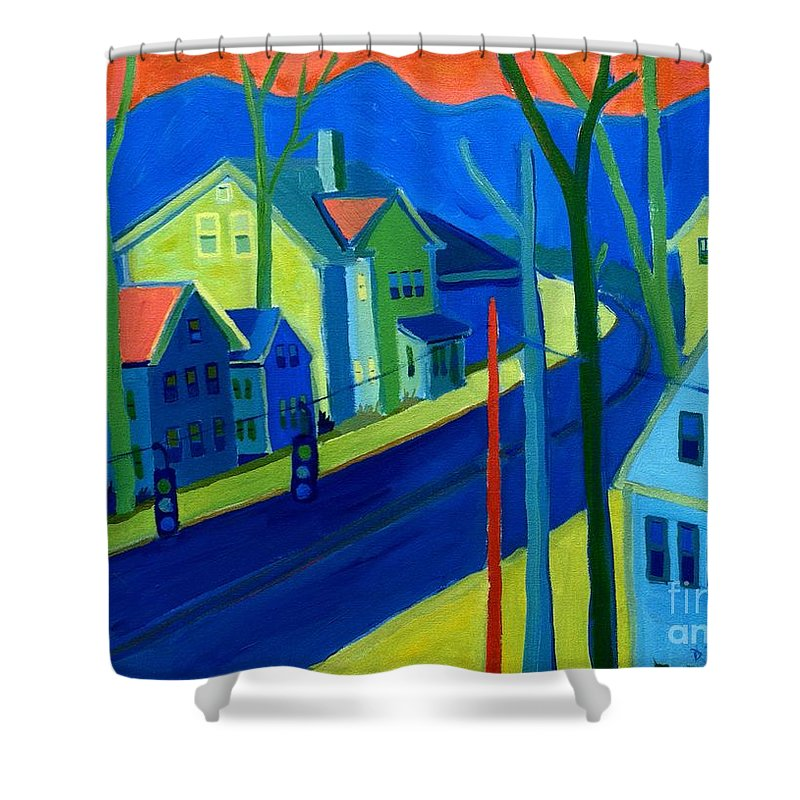 Cityscape Shower Curtain featuring the painting Lowell Deluge by Debra Bretton Robinson