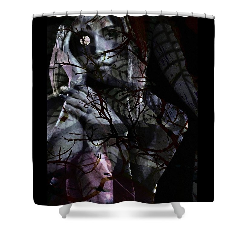 Woman Shower Curtain featuring the digital art Luna by Gunilla Munro Gyllenspetz