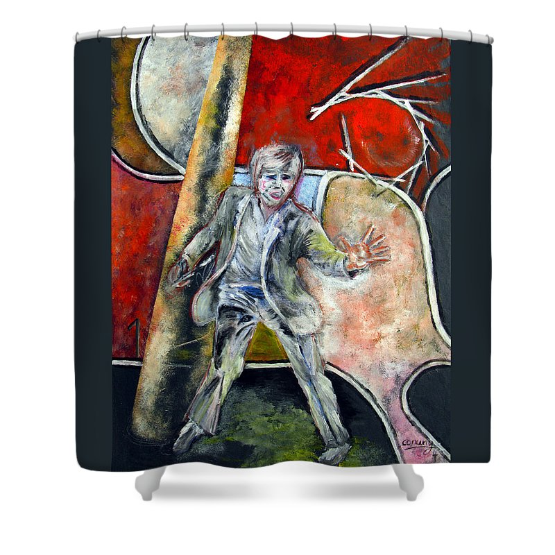 Male Shower Curtain featuring the painting Mad World by Tom Conway