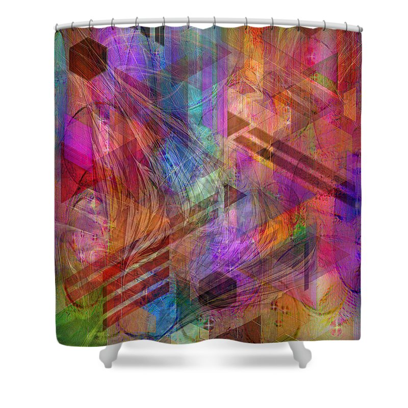 Magnetic Abstraction Shower Curtain featuring the digital art Magnetic Abstraction by John Robert Beck