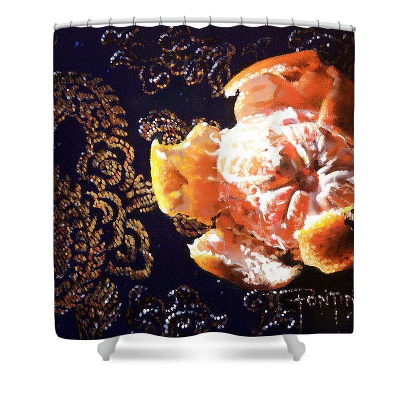 Mandarin Shower Curtain featuring the painting Mandarin by Dianna Ponting