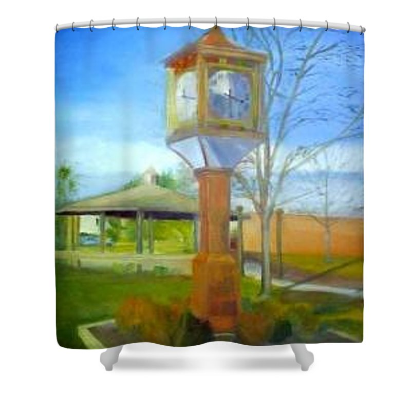 Maple Shade Shower Curtain featuring the painting Maple Shade Clock by Sheila Mashaw