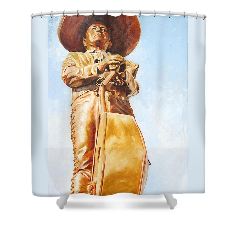 Mariachi Shower Curtain featuring the painting Mariachi by Laura Pierre-Louis