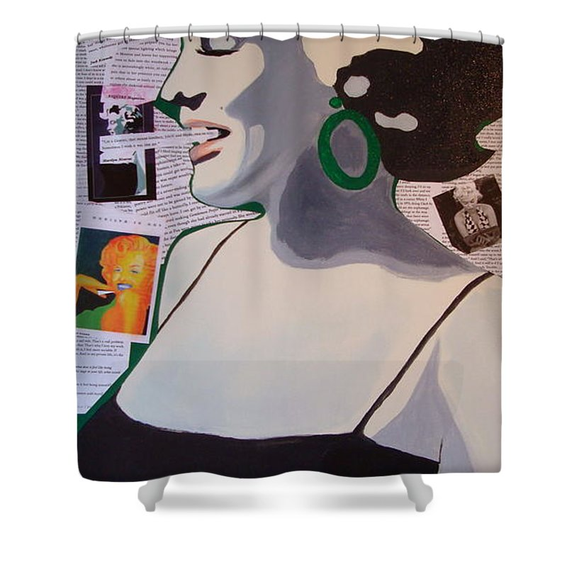 Marilyn Monroe Shower Curtain featuring the drawing Marilyn by Holly Picano