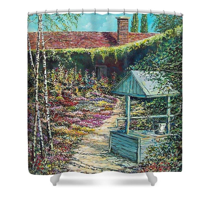 Garden Shower Curtain featuring the painting Mary's Garden by Sinisa Saratlic