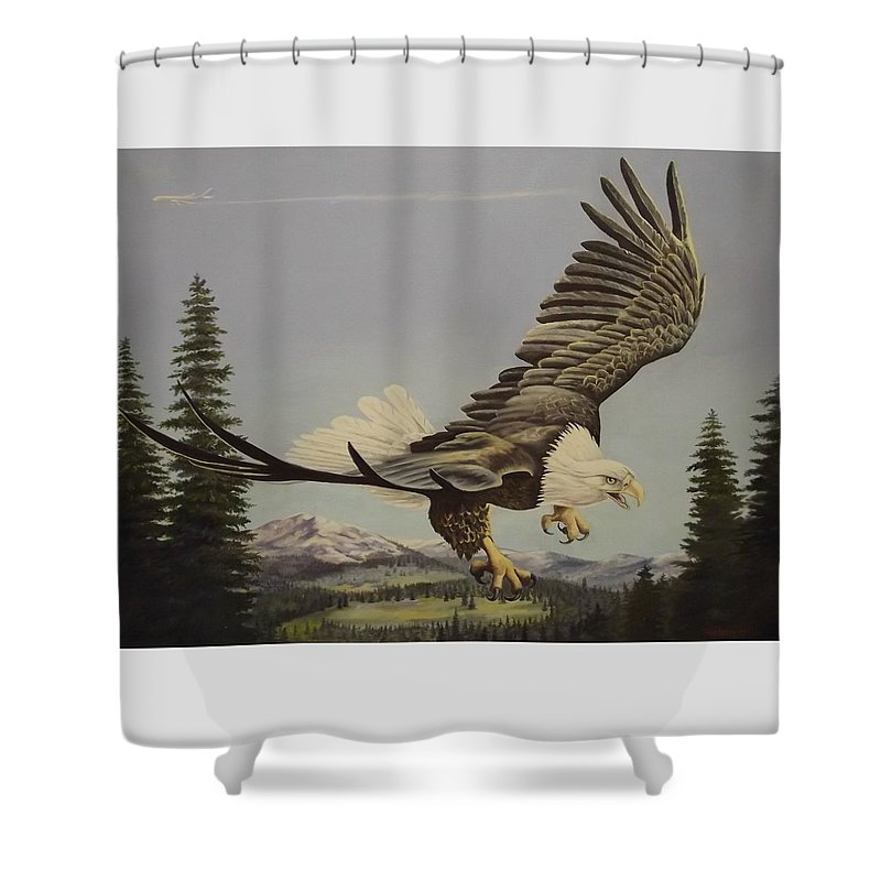 Landscape Shower Curtain featuring the painting Masters of the Sky by Wanda Dansereau