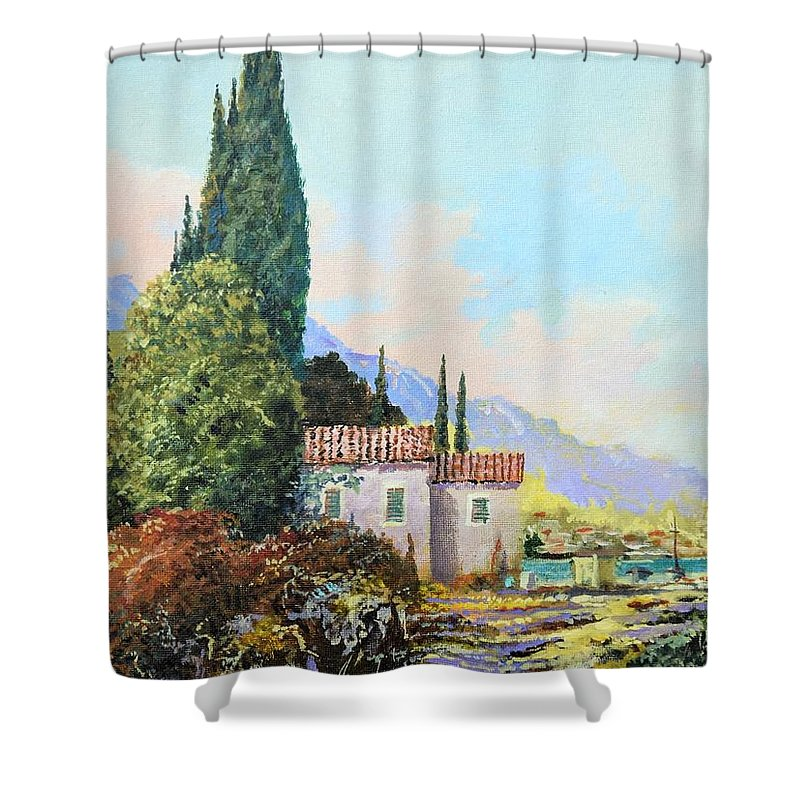 Original Painting Shower Curtain featuring the painting Mediterraneo 2 by Sinisa Saratlic