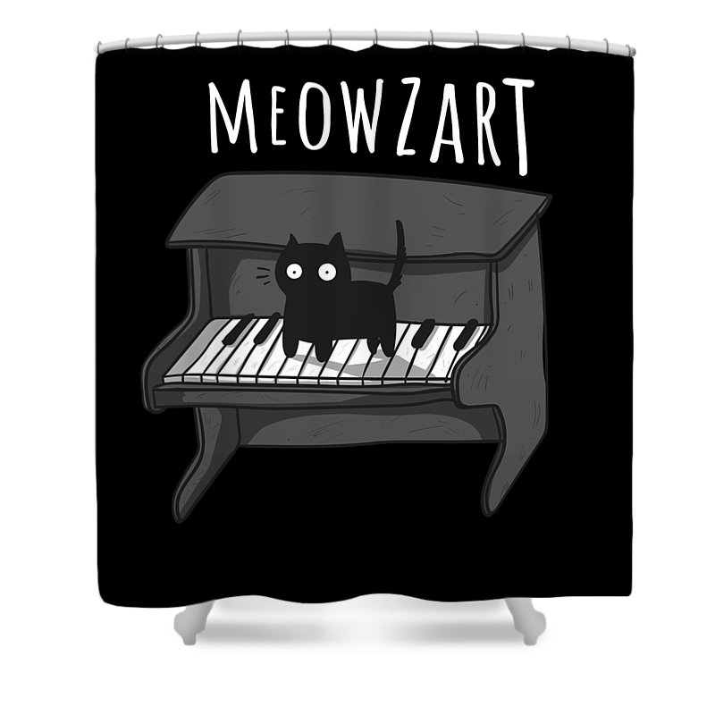 Kitten Shower Curtain featuring the drawing Meowzart The Classical Music Cat Super Cool Kitty by Noirty Designs