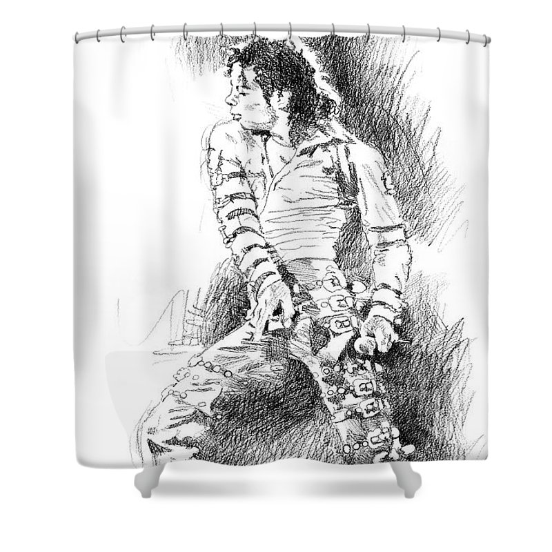 Michael Jackson Shower Curtain featuring the drawing Michael Jackson - Onstage by David Lloyd Glover