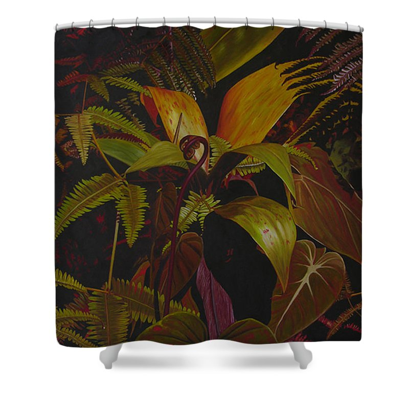 Plant Shower Curtain featuring the painting Midnight In The Garden by Thu Nguyen