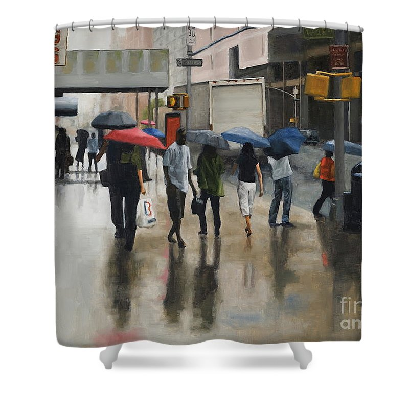 Rain Shower Curtain featuring the painting Midtown USA by Tate Hamilton