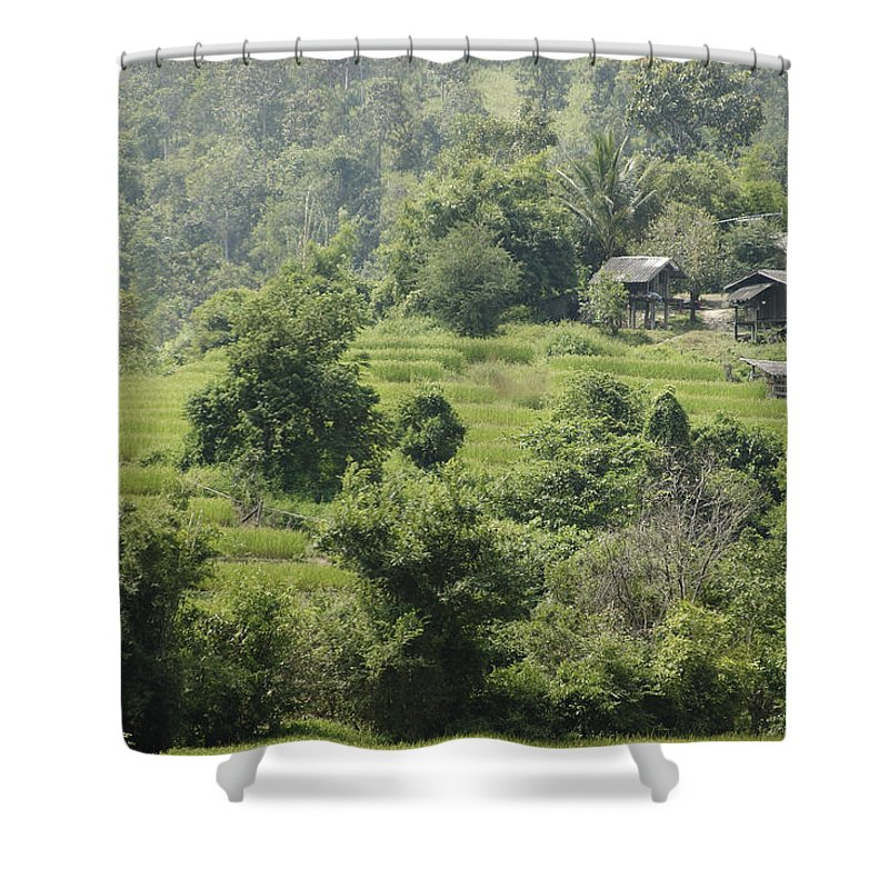 3scape Shower Curtain featuring the photograph Misty Mountain Village by Adam Romanowicz