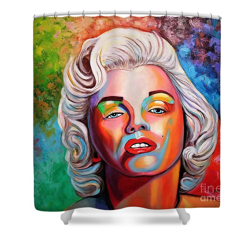 Monroe Shower Curtain featuring the painting M.Monroe 2 by Jose Manuel Abraham