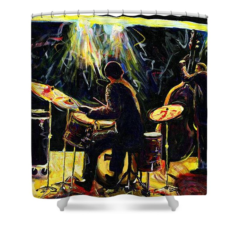 Everett Spruill Shower Curtain featuring the painting Modern Jazz Quartet take2 by Everett Spruill