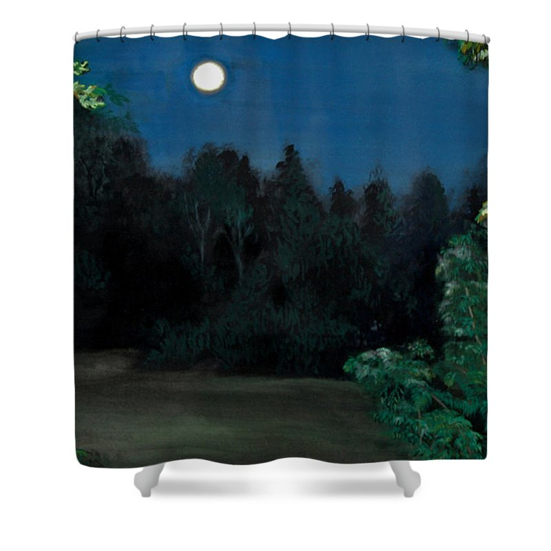 Moon Shower Curtain featuring the painting Moon Shadow by Susan Moore