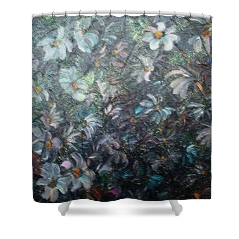 Floral Daisies Abstract Shower Curtain featuring the painting Moonlight And Daisies.. by Karin Dawn Kelshall- Best