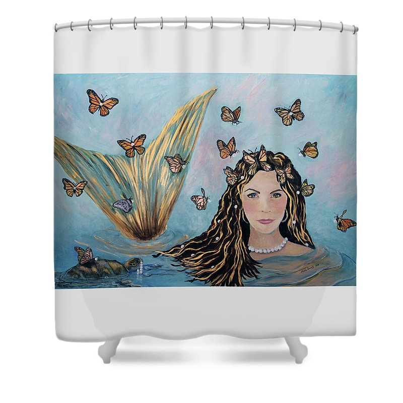 Mermaid Shower Curtain featuring the painting More Precious Than Gold by Linda Queally