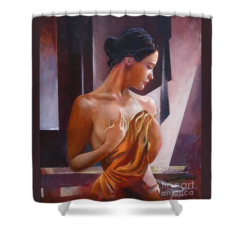 Female Figure Shower Curtain featuring the painting Morning Beauty by Sinisa Saratlic