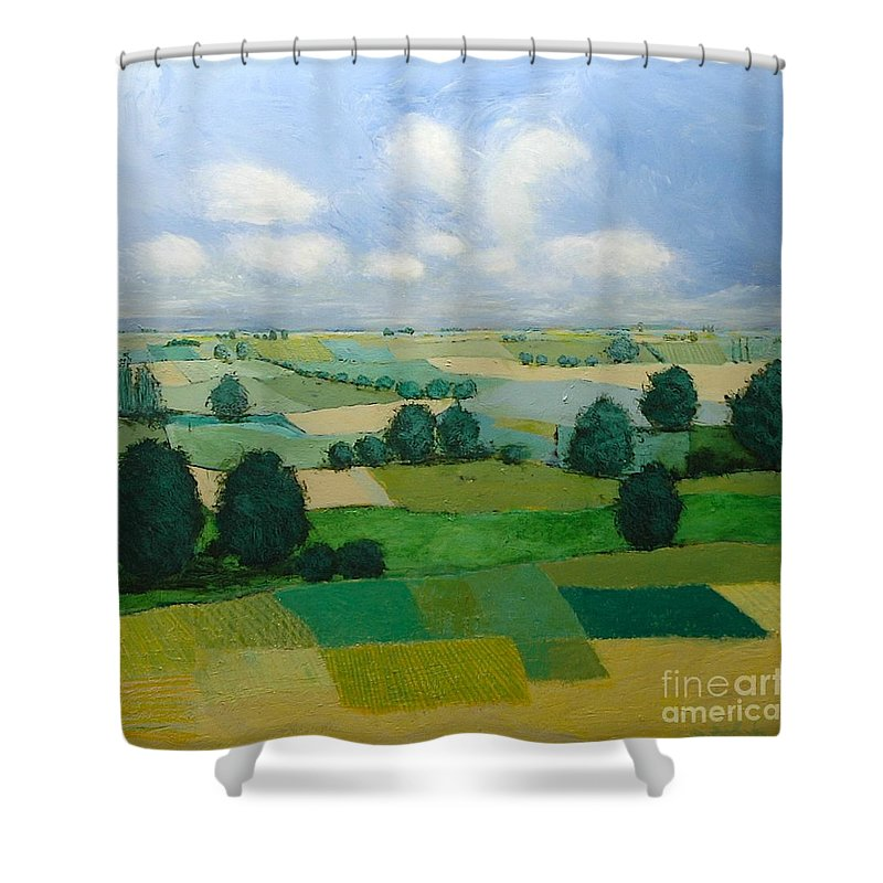 Landscape Shower Curtain featuring the painting Morning Calm by Allan P Friedlander