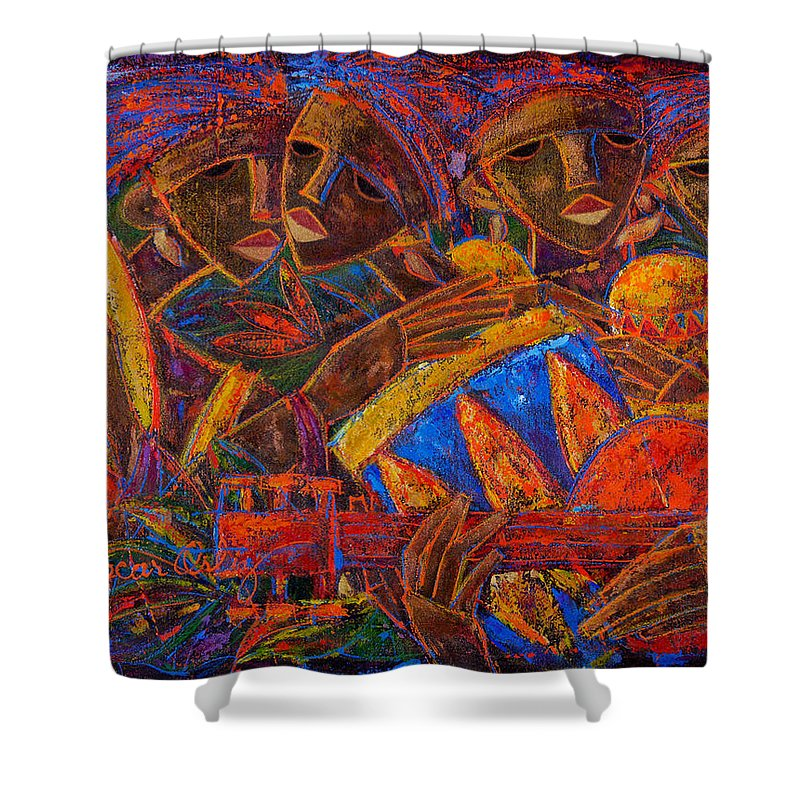 Puerto Rico Shower Curtain featuring the painting Musas Del Caribe by Oscar Ortiz