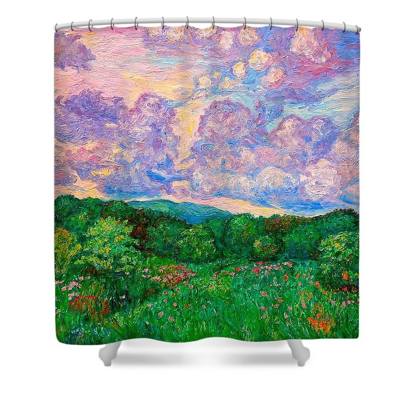 Landscape Shower Curtain featuring the painting Mushroom Clouds by Kendall Kessler