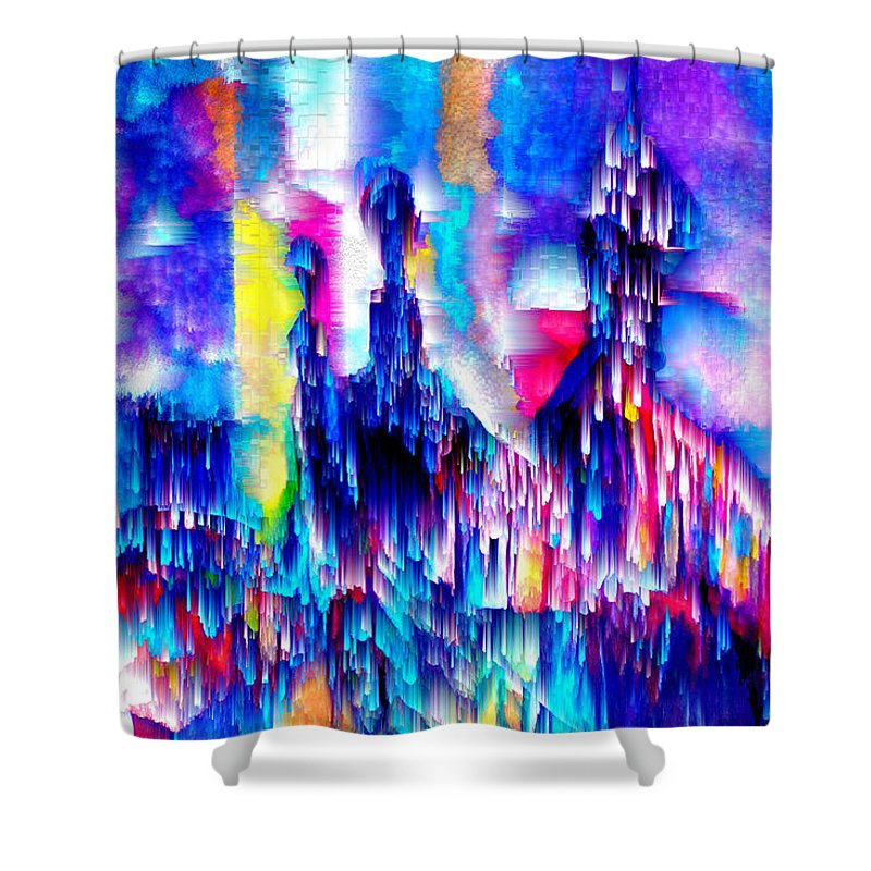 City Lights Shower Curtain featuring the mixed media Music of the City by Seth Weaver