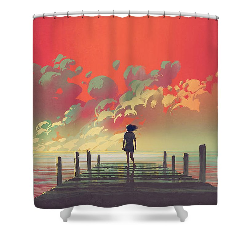 Illustration Shower Curtain featuring the painting My Dream Place by Tithi Luadthong
