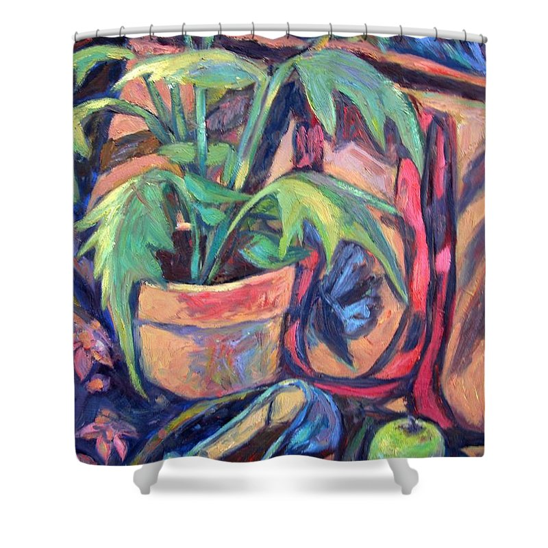 Plant Shower Curtain featuring the painting My Old Shoe by Kendall Kessler