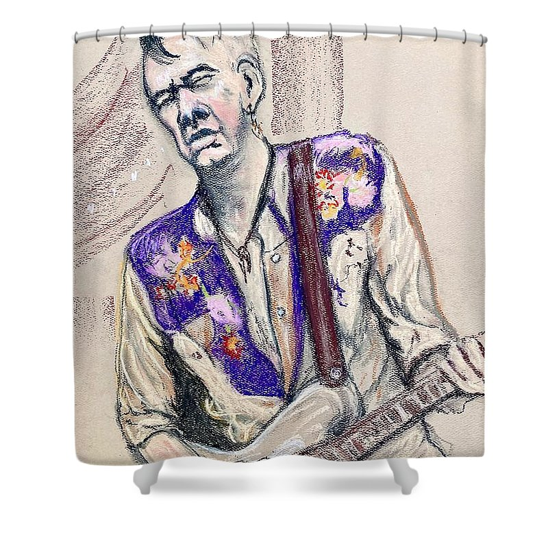 Guitarist Shower Curtain featuring the pastel Nathan Nelson by Pete Maier