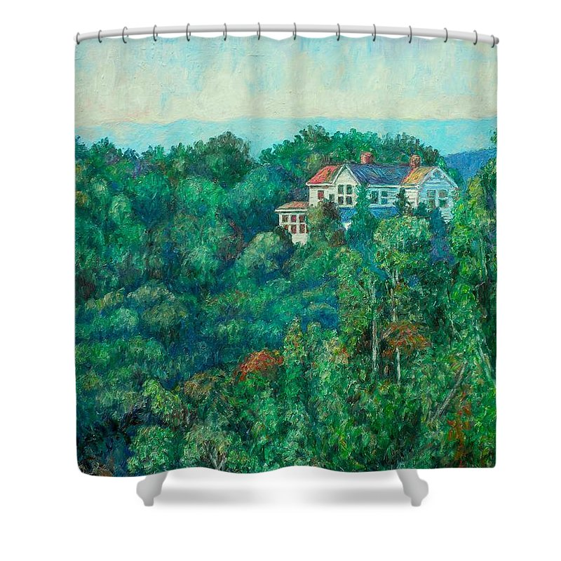 Landscape Shower Curtain featuring the painting Near Memorial Bridge by Kendall Kessler
