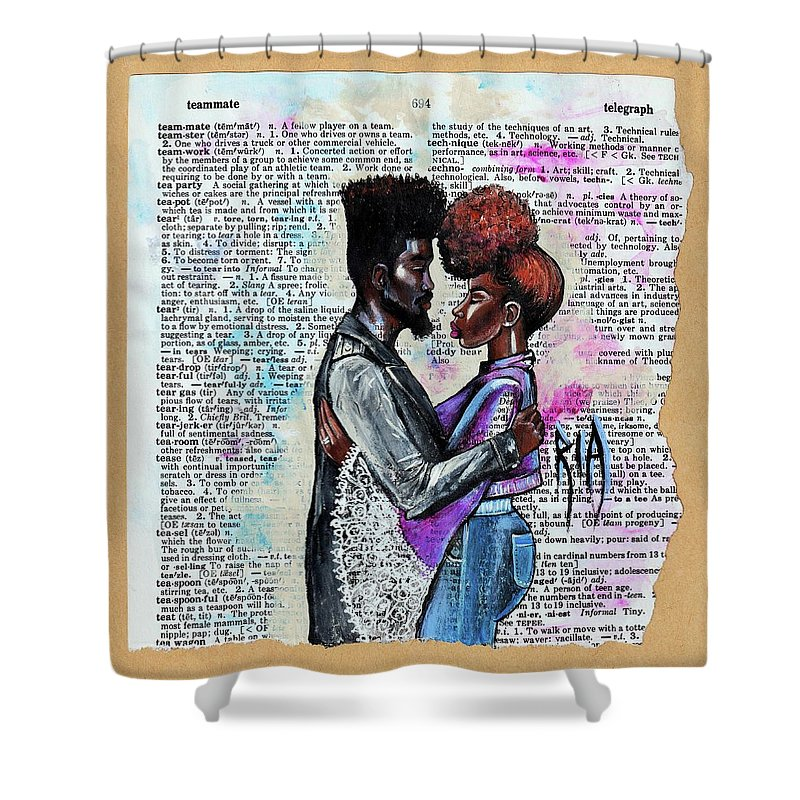 Shower Curtain featuring the painting Never forget - We are on the same team by Artist RiA