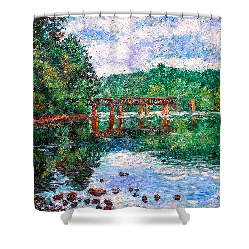 Landscape Shower Curtain featuring the painting New River Trestle by Kendall Kessler