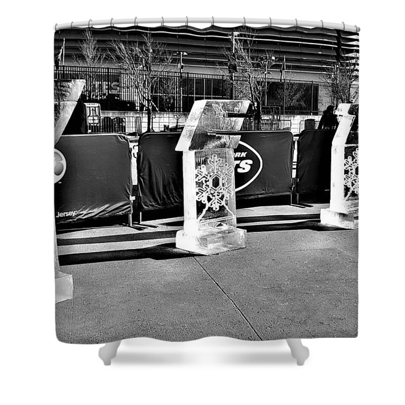 New York Jets Shower Curtain featuring the photograph New York Jets On Ice B W by Rob Hans