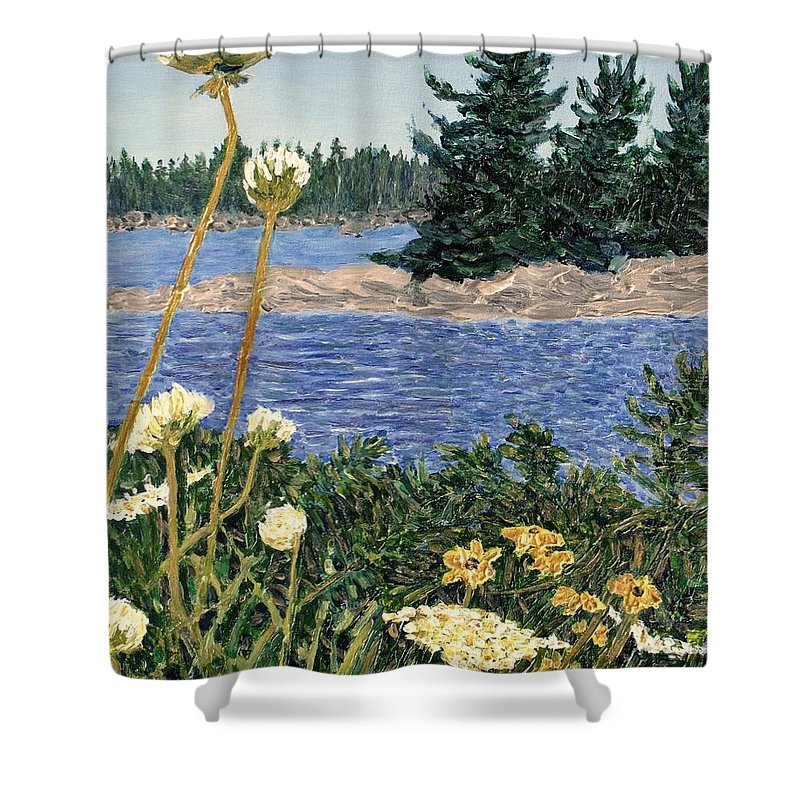 Northern Ontario Shower Curtain featuring the painting North Channel Lake Huron by Ian MacDonald