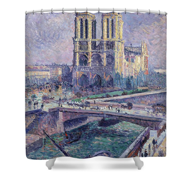 Maximilien Luce Shower Curtain featuring the painting Notre Dame, 1899 by Maximilien Luce