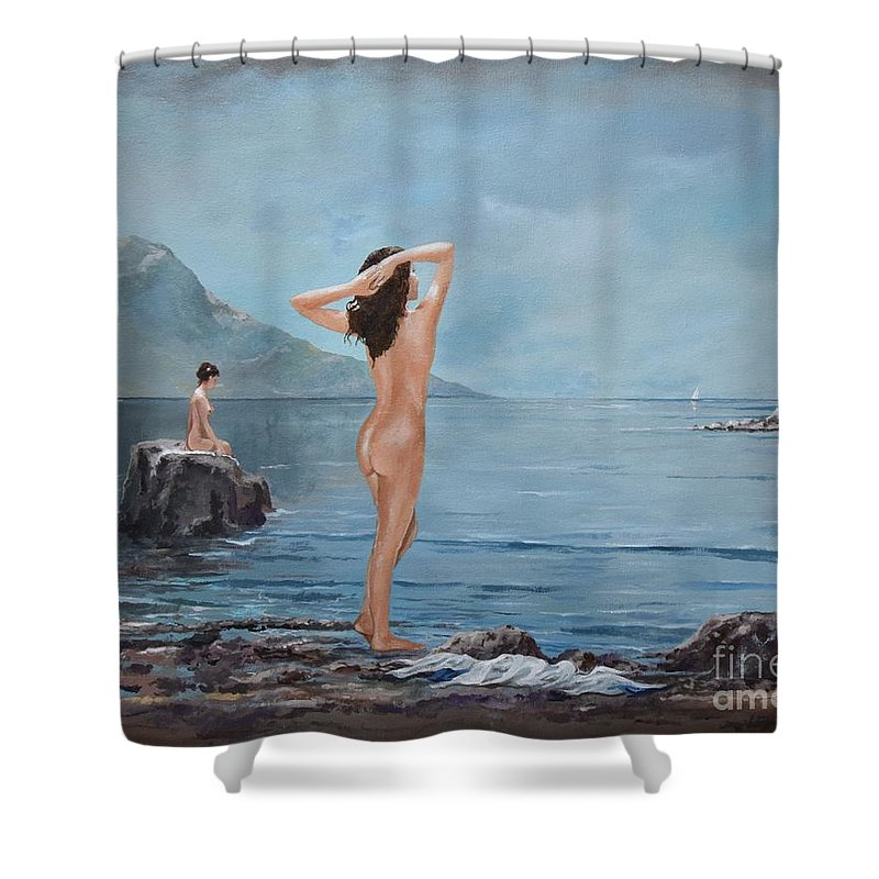 Female Figures Shower Curtain featuring the painting Nymphs by Sinisa Saratlic