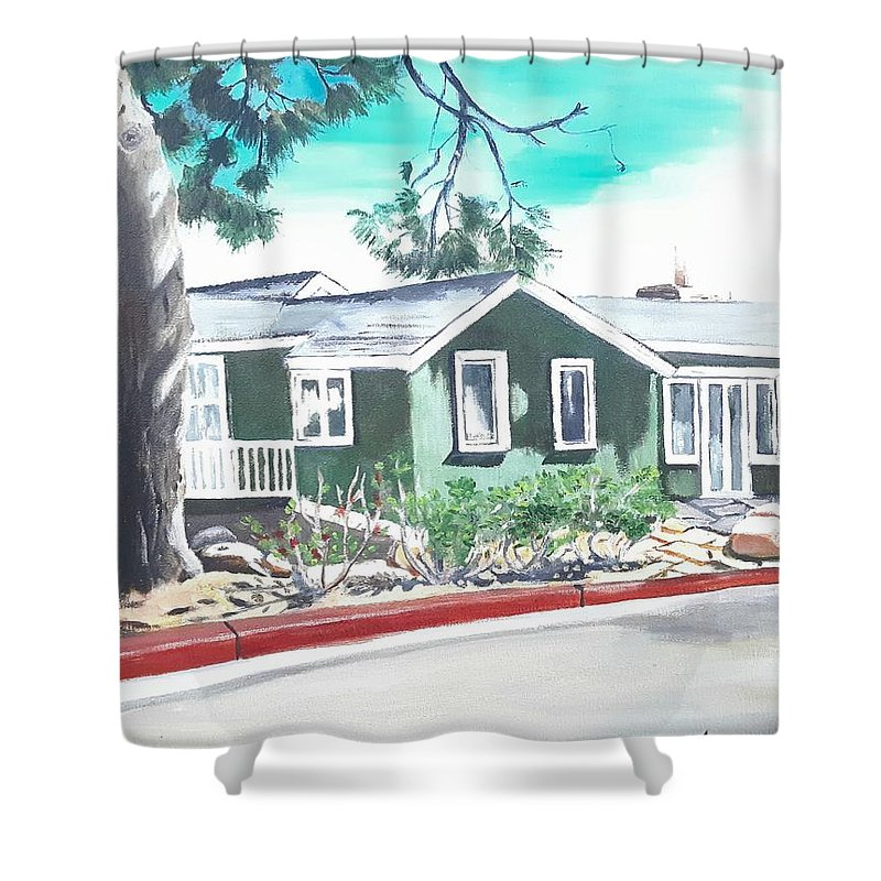 Landscape Shower Curtain featuring the painting Ocean Front House by Andrew Johnson