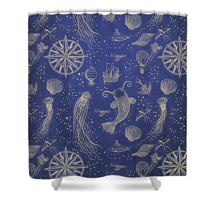 Gold Shower Curtain featuring the drawing Ocean Meets Sky - Hardcase by Eric Fan