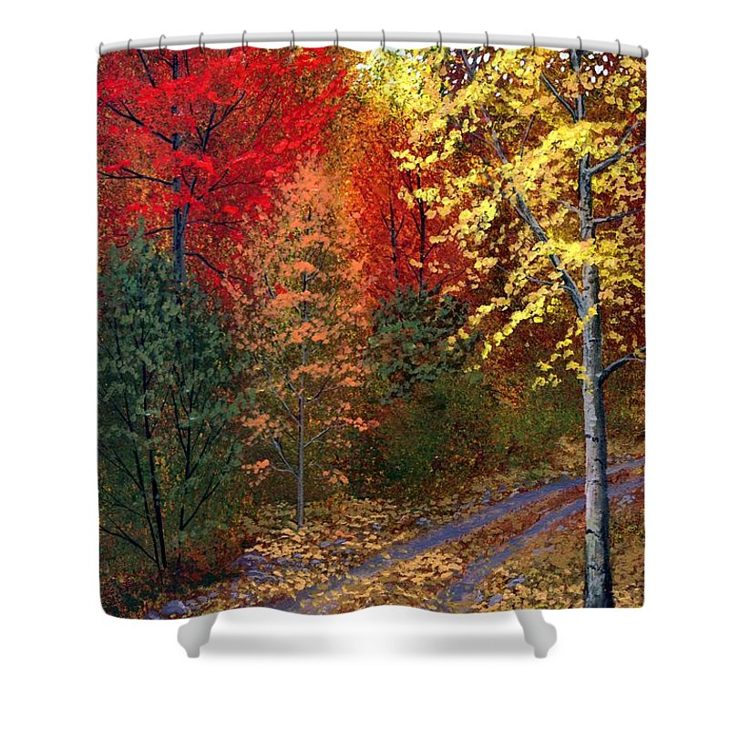Landscape Shower Curtain featuring the painting October Road by Frank Wilson