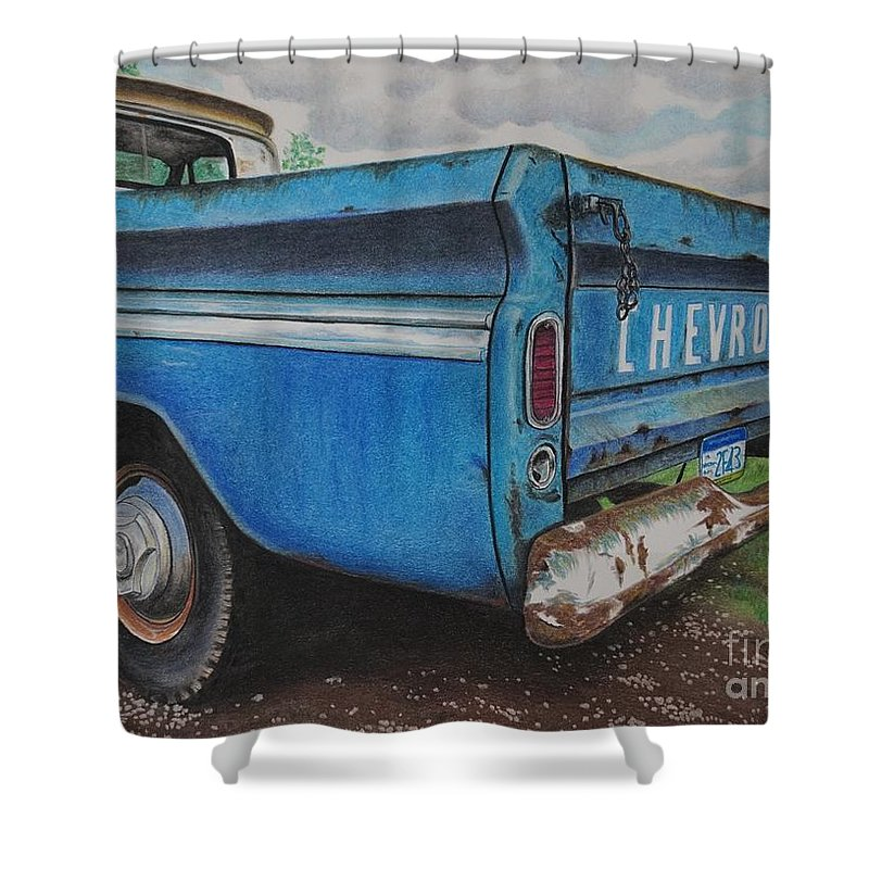 Wall Art Shower Curtain featuring the pastel Old Blue by Chris Naggy