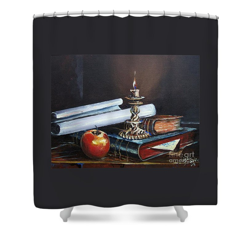 Original Painting Shower Curtain featuring the painting Old Books by Sinisa Saratlic