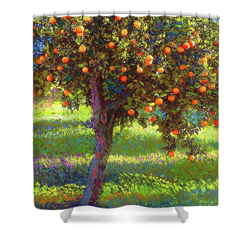 Landscape Shower Curtain featuring the painting Orange Fruit Tree by Jane Small
