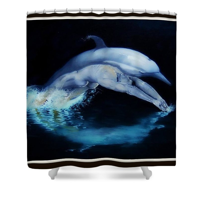 Surreal Shower Curtain featuring the painting Origins by Jane Simpson