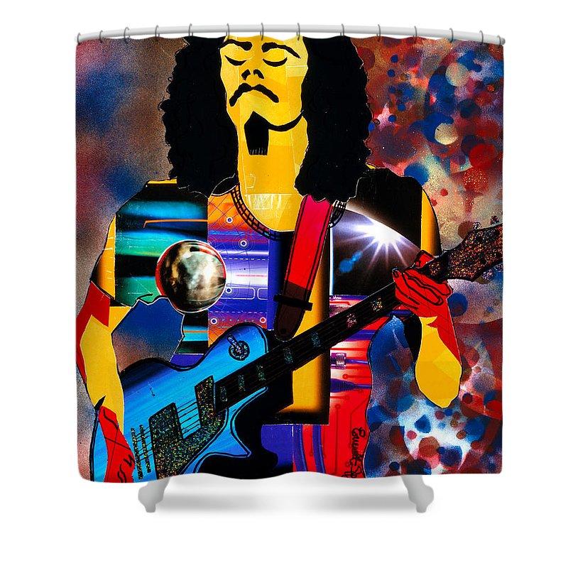 Everett Spruill Shower Curtain featuring the painting Oye Como Va Carlos Santana by Everett Spruill