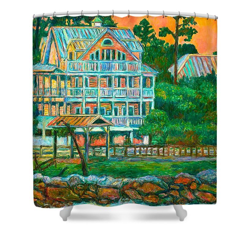 Landscape Shower Curtain featuring the painting Pawleys Island Evening by Kendall Kessler