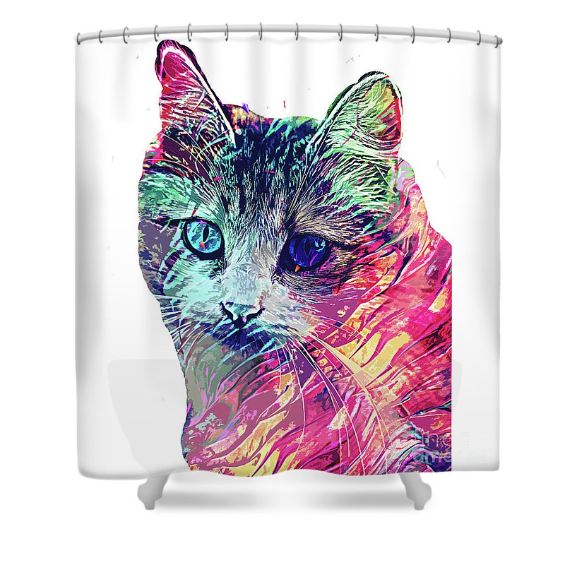 Cat Shower Curtain featuring the digital art Persian abstract cat by Trindira A