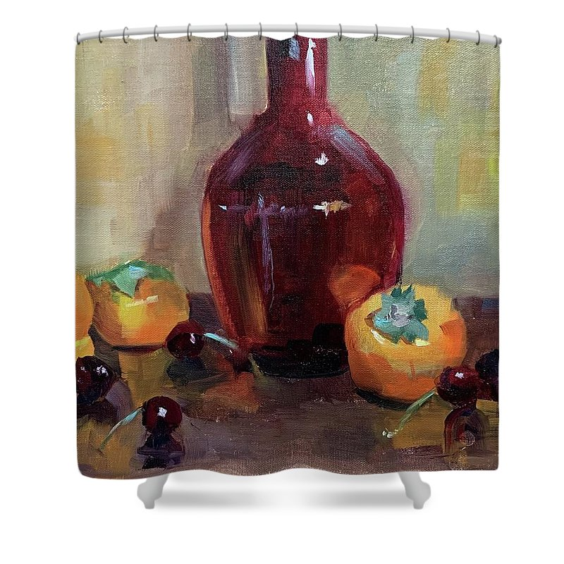 Shower Curtain featuring the painting Persimmon Sweetness by Karen Jordan