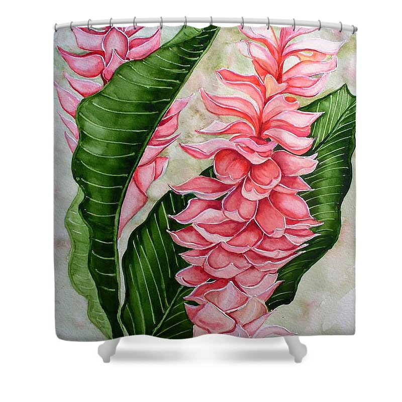 Flower Painting Floral Painting Botanical Painting Ginger Lily Painting Original Watercolor Painting Caribbean Painting Tropical Painting Shower Curtain featuring the painting Pink Ginger Lilies by Karin Dawn Kelshall- Best