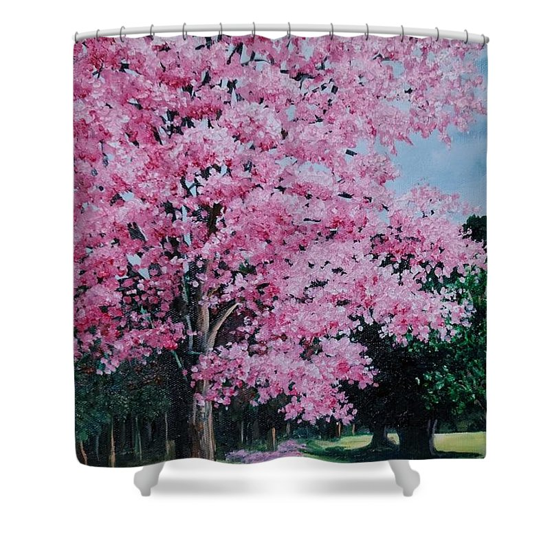Pink Poui Shower Curtain featuring the painting Pink P Poui by Karin Dawn Kelshall- Best